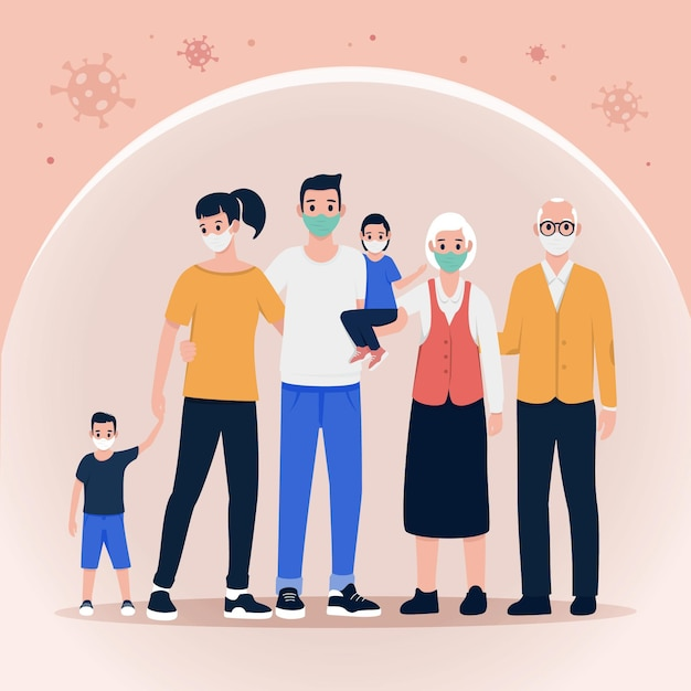 Famiglia protetta dal virus Vettore gratuito