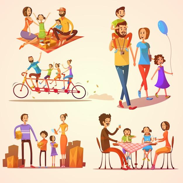 Famiglia retrò cartoon set Vettore gratuito