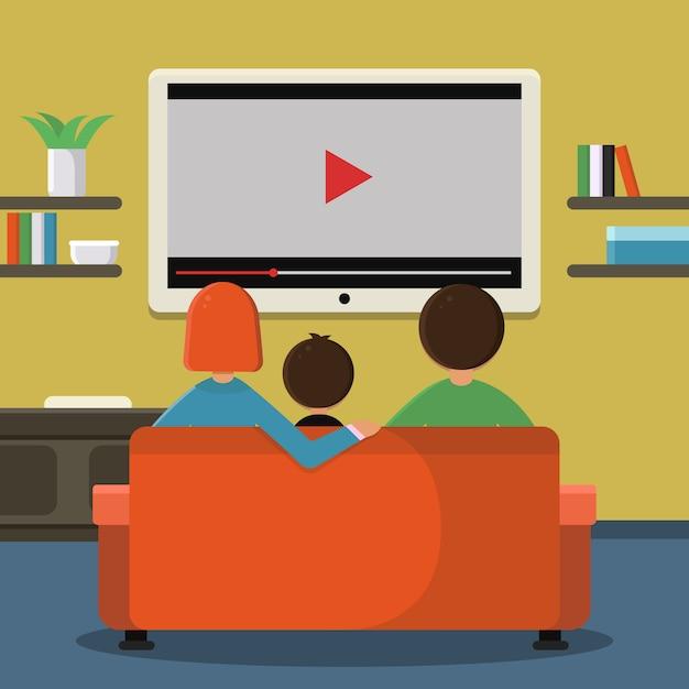 Famiglia seduto sul divano e guardando la televisione digitale sul grande schermo. Vettore Premium
