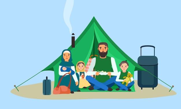 Famiglia senza tetto nell'insegna di concetto della tenda, stile piano. Vettore Premium