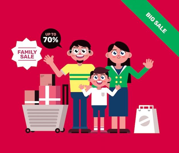 Famiglia shopping con carrello banner Vettore Premium