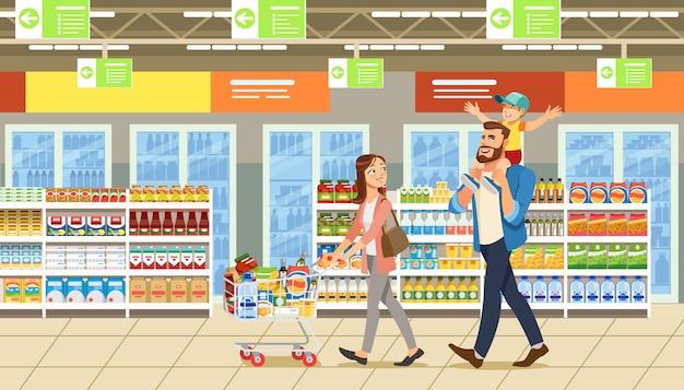 Famiglia shopping nel supermercato Vettore Premium