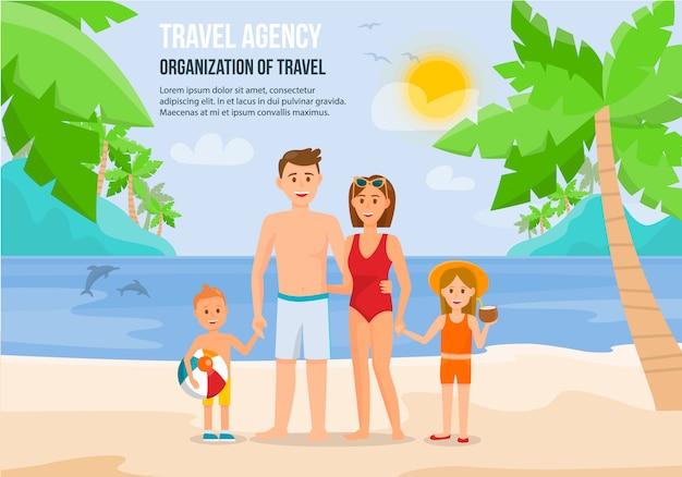 Famiglia sulla spiaggia Vettore Premium