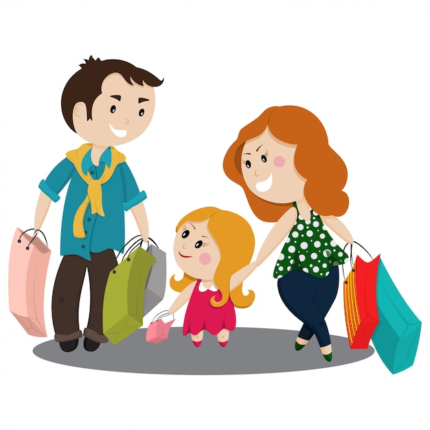 Famiglia sveglia del fumetto che compera con le borse Vettore Premium