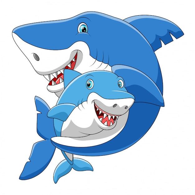 Famiglia sveglia del fumetto dello squalo che gioca insieme Vettore Premium