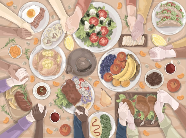 Famiglia, vacanze, pranzo, cibo insieme Vettore Premium