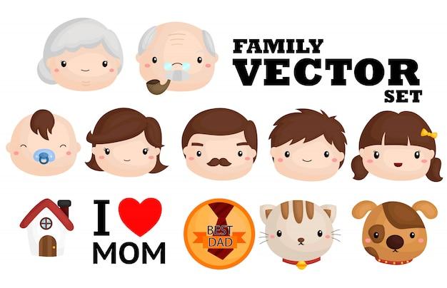 Famiglia vector set Vettore Premium
