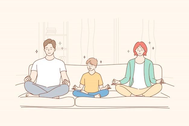 Famiglia, yoga, meditazione, maternità, infanzia, concetto di paternità Vettore Premium