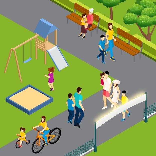 Famiglie che camminano al parco in estate Vettore gratuito