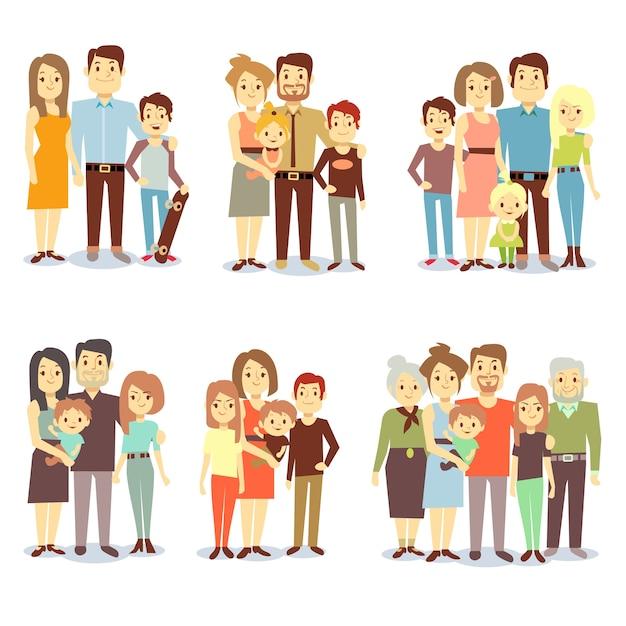 Famiglie di diversi tipi di icone vettoriali piatte. set di famiglia felice, illustrazione di gruppi diversi fa Vettore Premium