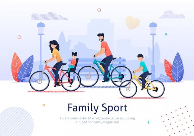 Family sport, genitori e bambini in sella a biciclette. Vettore Premium
