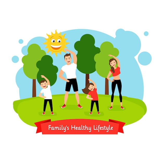 Familys illustrazione stile di vita sano Vettore Premium
