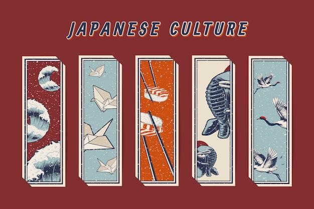 Famose icone culturali giapponesi Vettore gratuito