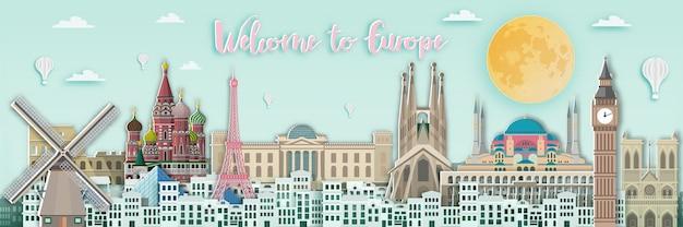 Famoso punto di riferimento per la carta di viaggio europa in stile art paper. Vettore Premium