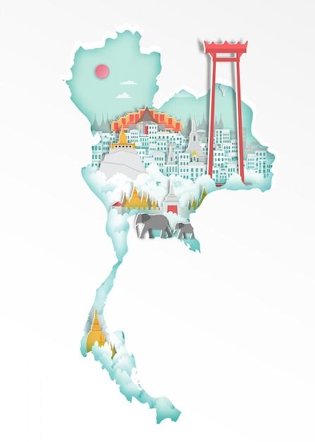 Famoso punto di riferimento thailandia sulla mappa per il poster di viaggio, stile arte carta. Vettore Premium