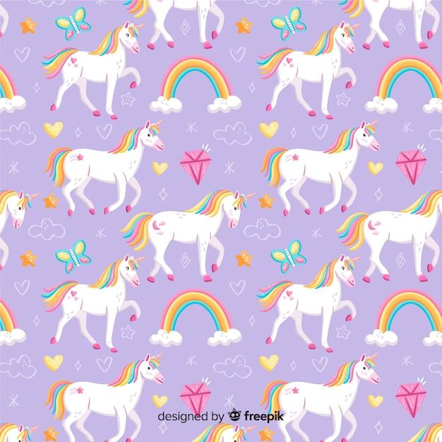 Fantasia a mano unicorno fantasia Vettore gratuito