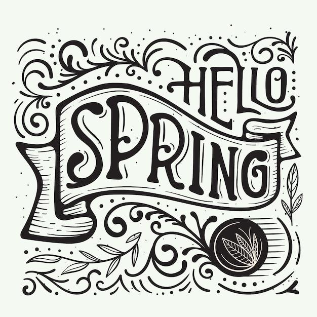Fantasia di linee e punti per le lettere di benvenuto di primavera Vettore gratuito