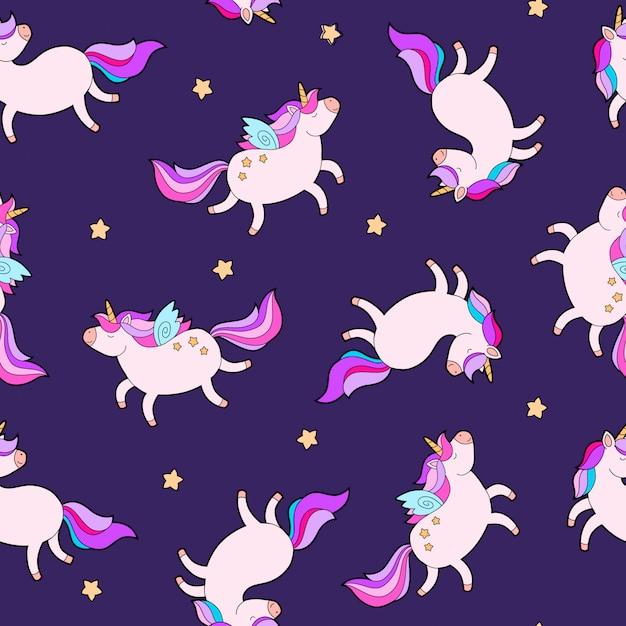 Fantasia di unicorno grasso disegno del tessuto modello cavallo. Vettore Premium