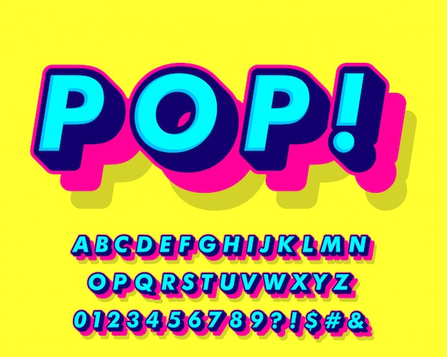 Fantasia pop art stile alfabeto Vettore Premium