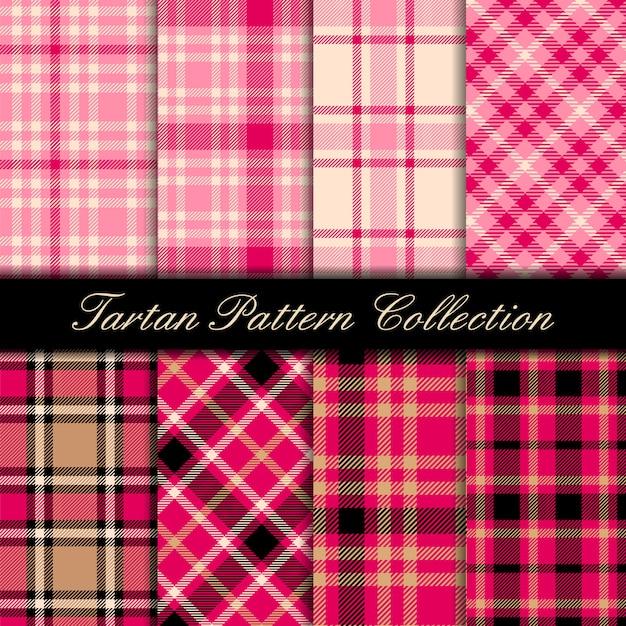 Fantasia scozzese rosa girly Vettore Premium