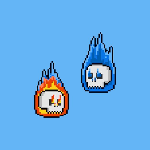 Fantasma della testa del cranio del fuoco del fumetto di arte del pixel. 8bit. halloween. Vettore Premium