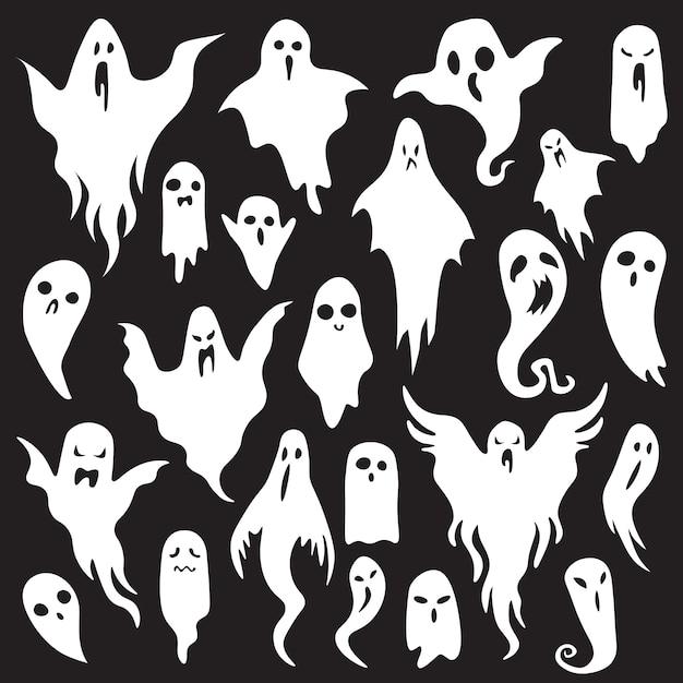 Fantasmi di halloween Vettore Premium