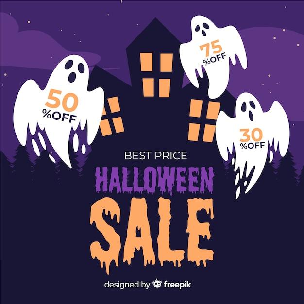 Fantasmi per il design piatto di vendita di halloween Vettore gratuito