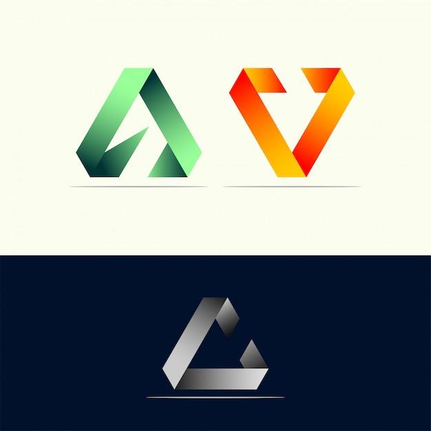 Fantastica identità del logo triangolare Vettore Premium