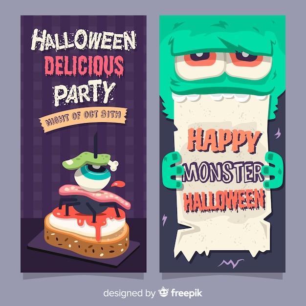 Fantastici banner di halloween con design piatto Vettore gratuito