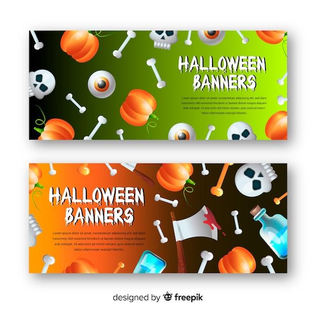 Fantastici banner di halloween con un design realistico Vettore gratuito