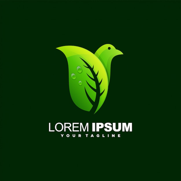 Fantastico design del logo a foglia di uccello Vettore Premium