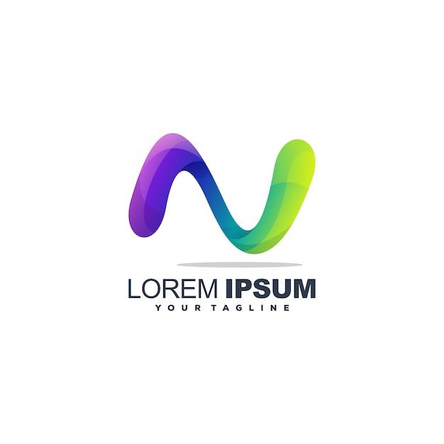 Fantastico design del logo della lettera n. Vettore Premium