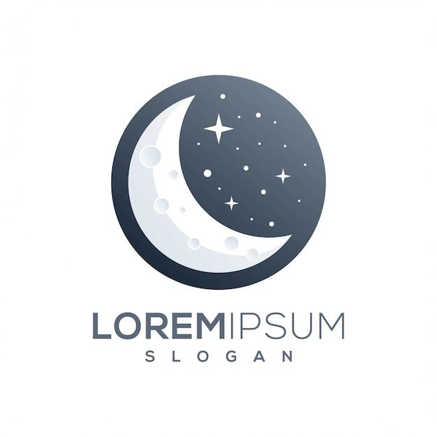 Fantastico design del logo della luna Vettore Premium