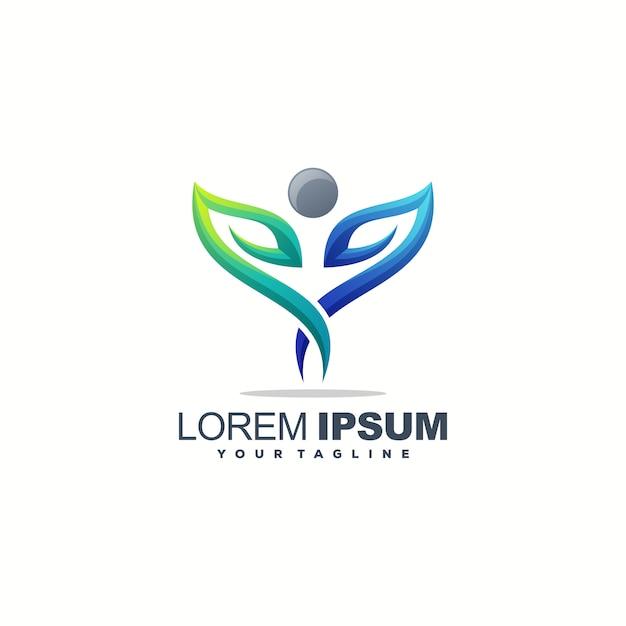 Fantastico design del logo foglia umana Vettore Premium