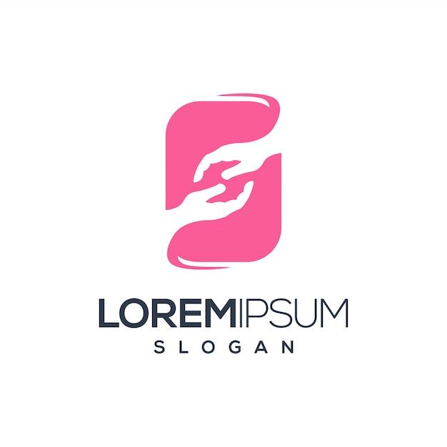 Fantastico disegno del logo della mano Vettore Premium