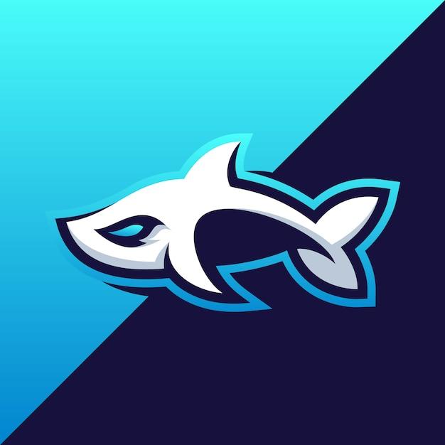 Fantastico disegno dell'illustrazione dello squalo Vettore Premium