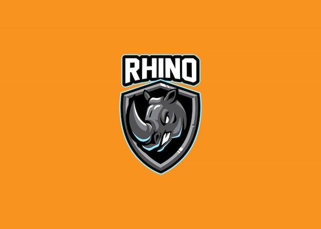 Fantastico gioco rhino head esport logo Vettore Premium