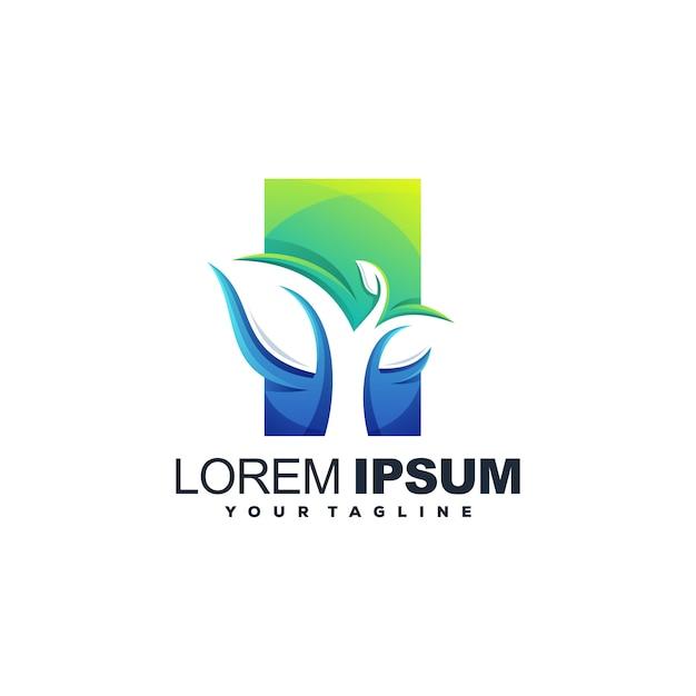 Fantastico logo a foglia Vettore Premium