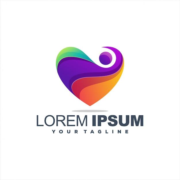 Fantastico logo astratto cuore design Vettore Premium