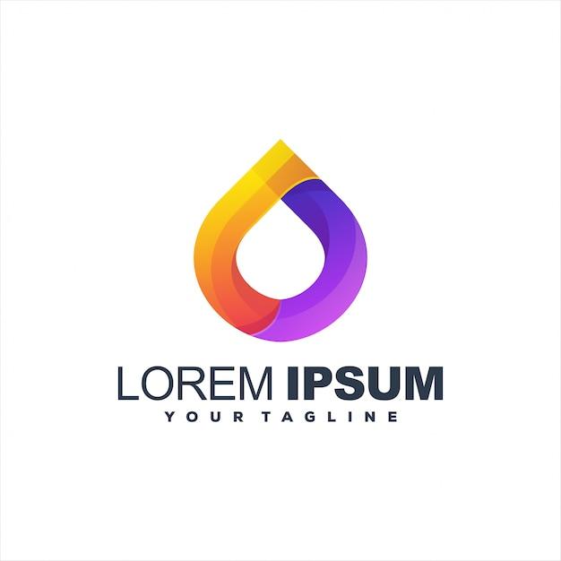 Fantastico logo con gradiente di goccia Vettore Premium