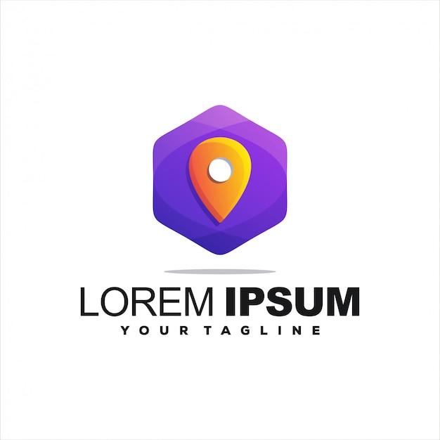 Fantastico logo con gradiente pin Vettore Premium