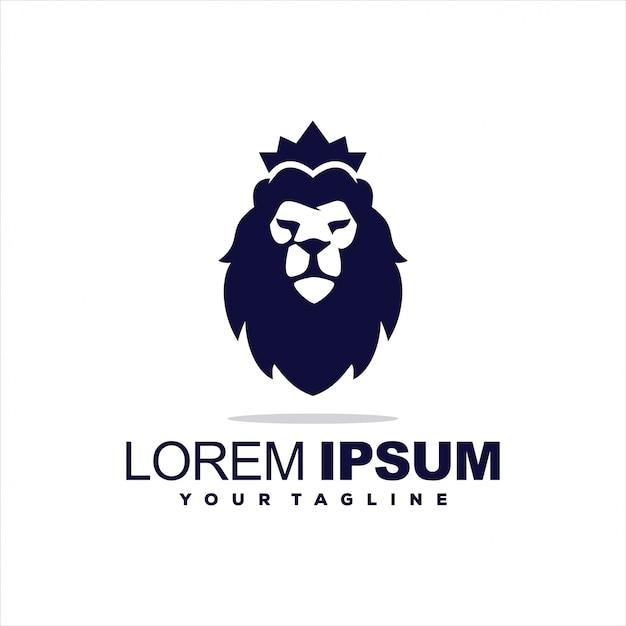 Fantastico logo re leone Vettore Premium