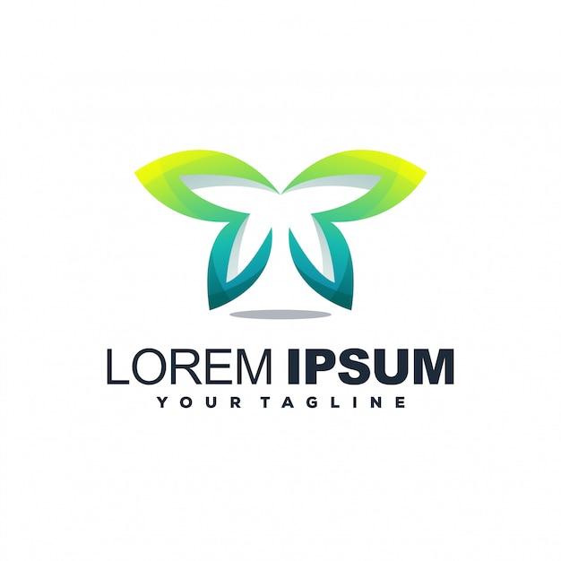 Fantastico logo sfumato a farfalla Vettore Premium