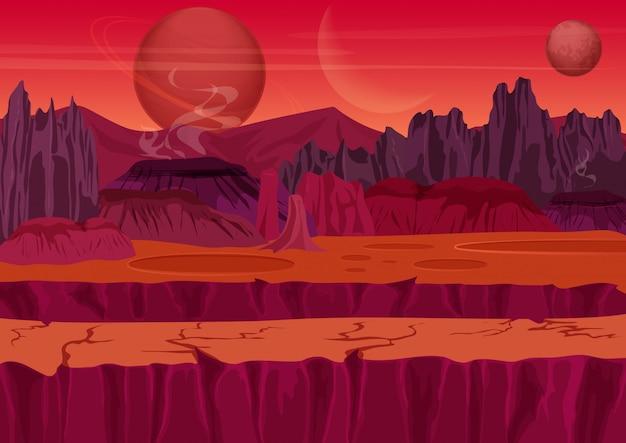 Fantastico paesaggio di gioco alieno Vettore Premium
