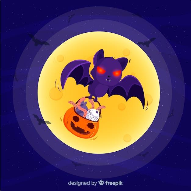 Fantastico pipistrello di halloween con design piatto Vettore gratuito