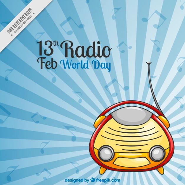 Fantastico sfondo con note radiofoniche e musicali in design piatto Vettore gratuito