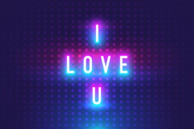Fantastico ti amo testo con sfondo bagliore al neon Vettore Premium