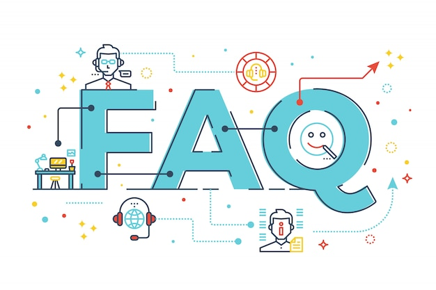 Faq: domande frequenti iscrizione illustrazione disegno di parole Vettore Premium