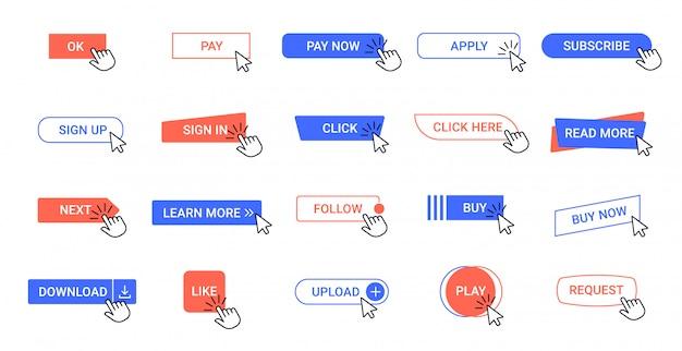 Fare clic sul pulsante. pulsanti clic del puntatore web, strumenti del cursore del mouse dell'interfaccia dell'app del computer. freccia clic icone degli elementi dell'interfaccia utente impostate Vettore Premium