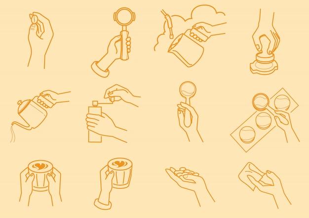 Fare del caffè con l'illustrazione della mano Vettore Premium